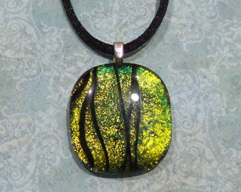 Gold Dichroic Pendant with Black Accents, Fused Glass Jewelry - Scottie- -5