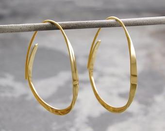 Hoop Earrings - Gold Hoop Earrings - Gold Earrings - Gold Drops - Gold Dangly Earrings, Gold Drop Earrings, Drop Hoop Earrings, Modern Hoops