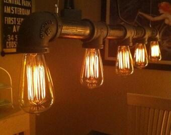 Industrial Vintage Look - 5 light Edison Bulb - Iron Pipe Chandelier