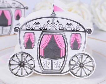 "Set of 10 Party Favor Boxes- ""Enchanted Carriage"" for Princess party, fairytale themed party or wedding"