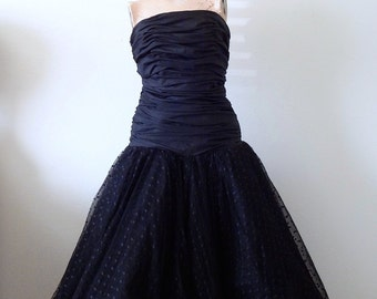 1980s Party Dress - 50s style black strapless gown - vintage prom dress