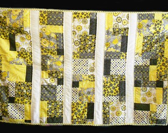 Yellow, Black and Gray Lap or Baby Quilt