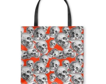 Skulls on Red Tote Bag