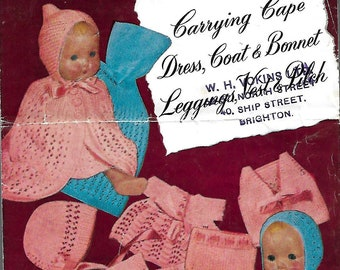 WELDONS 1382 1940's Layette for Twin Dolls or Tiny Baby Vintage Knitting Pattern PDF Instant Download