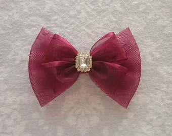 Burgundy, Maroon, Wine Red, Fancy Tulle Bow, Flower Girl, Junior Bridesmaid, Wedding Hair Accessory, Pearl Rhinestone Gold Silver, Barrette
