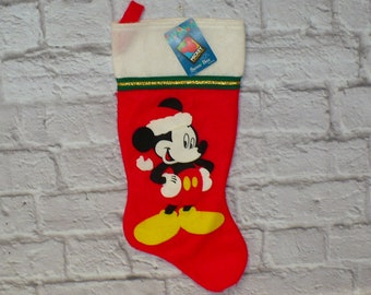"""Vintage Disney MICKEY UNLIMITED Mickey Mouse Christmas Stocking Santa's Best Unused New 18"""" long 1990s"""
