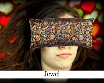 Handmade Eye Pillow - Yoga/Therapy - Microwavable - Flax Seed Fill - Satin Brocade/Crushed Velvet - Optional Lavender Scent - Jewel
