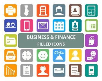 50 Business Filled Round Corner Icons