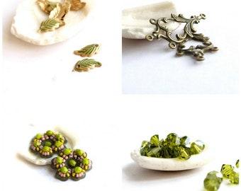 Olive Green Patina Bead Charm Set - Leaf Charm Pendant, Scroll Connector, Handmade Beaded Flowers, Olivine Swarovski Crystals