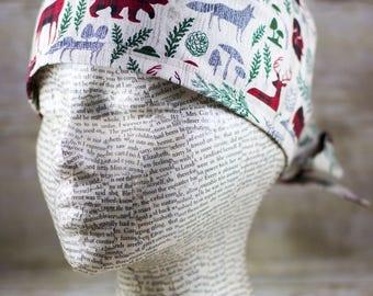 Mens Scrub Cap - Woodland Christmas