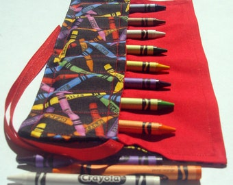 Crayon Roll Up Crayon Holder Crayons Design - Holds 8 Crayons