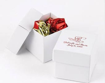 Personalized White Lidded Wedding Favor Boxes (Pack of 25) Wedding Favor Ideas