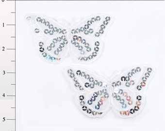 """E6322 Set of (2) White Butterfly Sequin Embroidered Appliques 3.5"""" (E6322-wh)"""