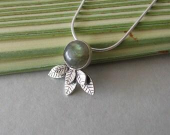 Silver Labradorite Leaves Necklace - labradorite necklace , silver necklace , leaves necklace , woodland necklace , rustic necklace