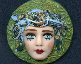 Face cab  Caned hat OOAK Polymer clay Detailed Face    Greeen  Abstract ANDF 1