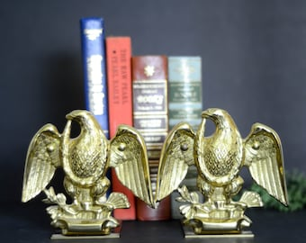 Vintage Baldwin Solid Brass Eagle Bookends Forged In America/Brass Decor/Brass Bookends/Brass Eagle Bookend/Antique Brass