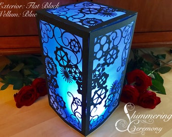 Steampunk Gears Centerpiece Large Laser Cut Paper Lantern Luminary