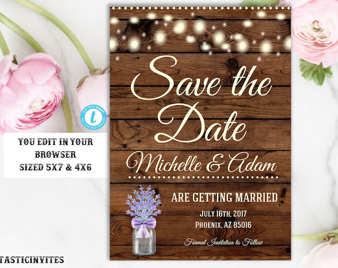 Lavender Rustic Save the Date Template, Save the Date Template, Instant Download, Rustic Wedding, Template, Printable, Save-the-Date, DIY