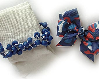 Kathy's Beaded Socks - Patriotic Camouflage Socks and Hairbow, girls socks, pony bead socks, royal blue socks, school socks, red socks