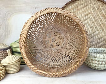 Open Weave Basket • Large Woven Plant Basket • Boho Basket • Wicker Basket Planter