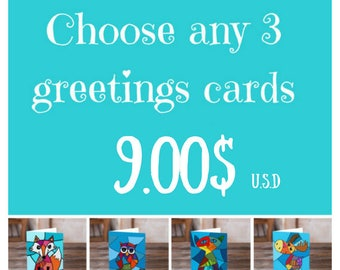 Choose any 3 cards, 3 greetings cards, choose bundle cards, set of cards, cute card