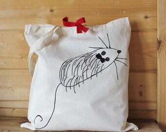 Illustrated cloth bag, mouse bag, reusable bag, shopping bag, cotton bag, cloth bag, white bag, yoga bag, bag,Mother's Day