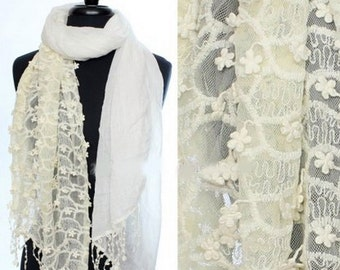 White Cream Lace Scarf, Wedding Scarf, Ivory Lace Scarf, Scarves, Bridesmaids Scarfs