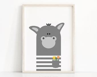 Instant Download Nursery Print, Donkey Nursery Art, Printable Kids Wall Art, Animal Nursery Printables, Kids Art, Animal Print, Digital Art