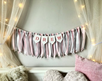 Pink And Silver Grey Ribbon Garland.