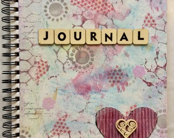 Art Journal/Sketch Book with Original Painted Canvas Covers