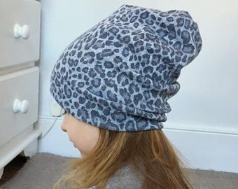 Grey leopard print Beanie / baby beanie hat / jersey warm wool feel knit hat / toddler beanie / kids beanie / hipster baby / kids beanie