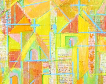 Canvas box mixed media collage painting, green blue yellow, ConMisManos