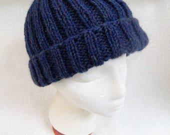 Hand Knitted Adult Ribbed Hat in Navy Blue with Ample Turn Back Brim Free Ship in US