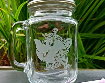 Mrs Potts and Chip Engraved Mason Drinking Jar - Personalised - Beauty and the Beast