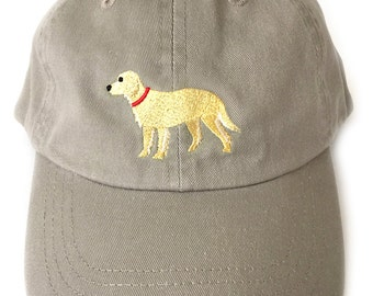 Golden Retriever baseball cap, embroidered Golden Retriever ball cap low profile curved bill Khaki