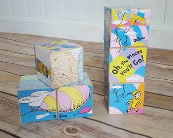 Dr. Seuss wood blocks, Dr. Seuss baby shower, Dr. Seuss nursery, Dr. Seuss classroom, Dr. Seuss puzzle, Oh the places You'll go blocks
