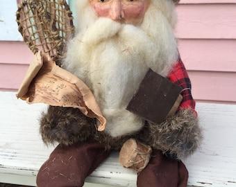 WOODLAND SANTA Handmade by The Enchanted Collection, Snowshoes, OOAK, Folk Art, Ranch,Cabin Christmas Buffalo Check at A Vintage Revolution