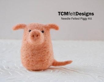 Needle Felting Piggy Kit, complete animal wool fiber pig kit for beginners