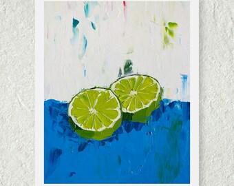 Kitchen Prints, Lime Green Decor, Original Oil Painting Still Life, Light Blue Decor, Fine Art Giclee Print, Lime Fruit, Bright Wall Art