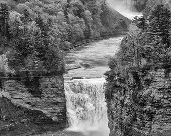 Genesee river gorge - black and white photography, landscape, fine art prints, Letchworth State Park, waterfall, home decor, wall decor