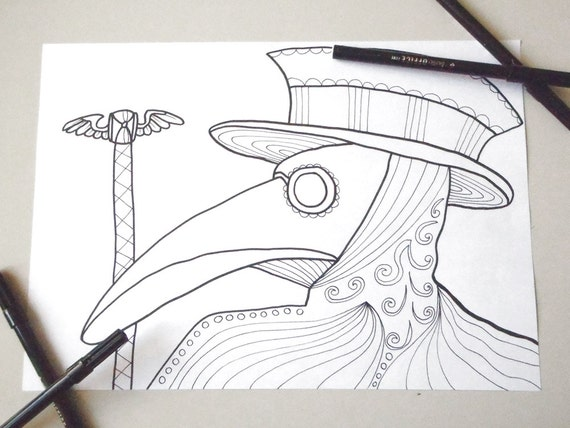 Plague Doctor Mask Coloring Page Adults Horror Goth Download