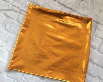liquid gold foil metallic mini skirt