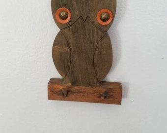 Retro Owl Keyholder, Wooden Owl Hooks