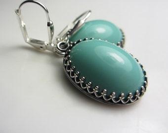 Turquoise Earrings Victorian Style Blue Earrings Vintage Style Turquoise Earrings Czech Glass Earrings Antique Blue Green Earrings
