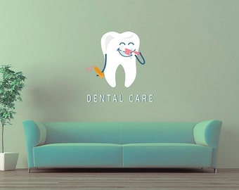 kcik1535 Full Color Wall decal funny tooth care dentist dental surgery Clinic Hospital