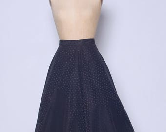 Vintage 50s black polka dot skirt / A line skirt / 50s flared skirt / pin up skirt