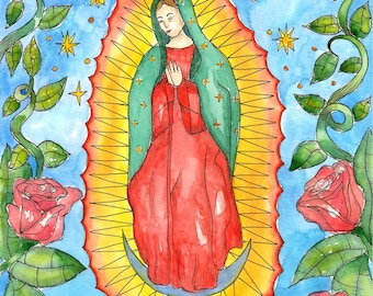 Our Lady of Guadalupe Art Print Virgin of Guadalupe Mexican Saint Voodoo Art Hoodoo Virgin Mary Divine Feminine Pagan Spiritual Santeria