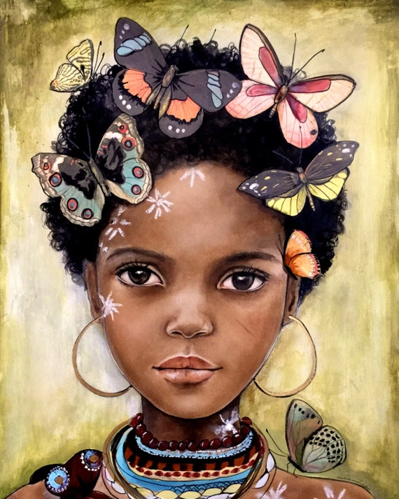 child from africa inspired with butterflies