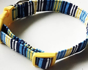 Blue & Yellow Summer Striped Male Dog and Cat Collar