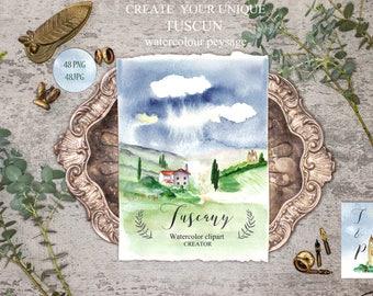 "Watercolor clip art, hand drawn. Landscape clip art disigner. Collection ""Tuscany"". Watercolor landscape.  Tuscun wedding"
